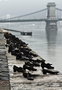 Shoes on the Danube Bank in Budapest. Hungary, recall the slaughter of Jews by fascists during World War II. Photo courtesy of Philip Courter.