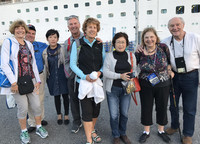 Diamond Princess passengers bid sayonara to their Japanese guides as they ready to board their ship in Sakaiminato, Tottori Prefecture, Japan . Photo courtesy of Phillip Courter.
