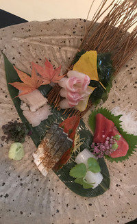 An Autumn Sashimi platter provides a tasty and colorful treat in Japan. Photo courtesy of Philip Courter.